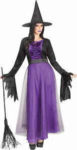 Purple Black Witch Adult Costume Dress Hat NEW
