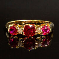 Antique Victorian Ruby & Diamond 18ct Gold Trilogy Ring c.1890