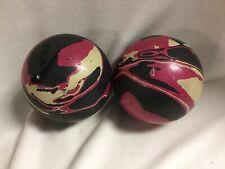 Two Ebonite Tornado 9F Duckpin Bowling Balls Pink Black White