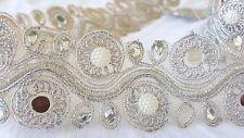 5cm - 1 metros de plata perlas y espejos hermosos bordado encaje de corte Hazlo tú mismo