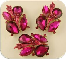 2 Hole Beads Fuchsia Marquis & Teardrop Facets Swarovski Crystal Elements QTY 3