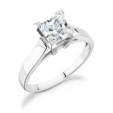 set in 14k White Gold Sp-40W Solitaire Princess Cut Ring with .40Ct diamond