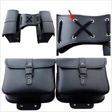 1 Pair Universal Motorcycle Motorbike Saddle Bags Leather Side Storage Fork Tool