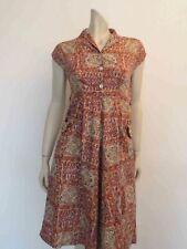 Vintage 1950s Salmon Cotton Print Dress - Bust 81 cm
