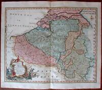 Netherlands Flanders Bishop Liege c.1740 antique Bowen decorative cartouche map