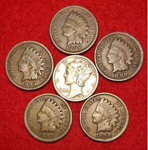 (5) Indian Head Pennies Cent Lot 1890s AG or Better + BONUS 90% Silver Dime!