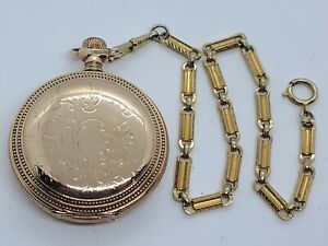Antique Working 1899 ELGIN Gold G.F. Full Hunter 15J Pocket Watch 18s with Chain