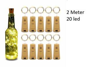 Bottle Fairy String Lights Battery Cork Shaped Christmas Wedding Party 20 Led