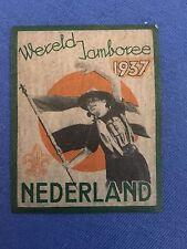 1937 Boy Scout WORLD JAMBOREE Netherlands Stamp Decal BSA Vintage Scouting Dutch