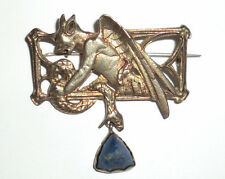Antique Grotesque Neo-Gothic Mythological Pin Brooch Silver 800 Blue Lapis T