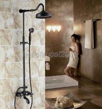Wall Mount Oil Rubbed Brass Rain Shower Faucet Set Clawfoot Tub Mixer Tap lrs754