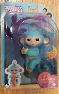 WOWWEE FINGERLINGS BLUE BABY MONKEY CHARLIE INTERACTIVE TOY WITH 40+ SOUNDS