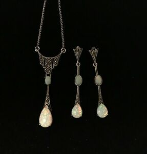 Sterling Silver Opal Marcasite Pear Necklace and Earrings set OCTOBER BIRTHSTONE