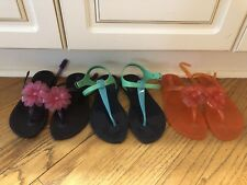 Lot Of 3 Gap Girl Size 3-4 Jelly Thong Summer Sandals Purple Orange Blue Used