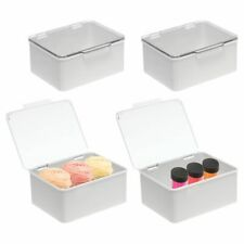 mDesign Stackable Plastic Craft, Storage Bin with Lid - 4 Pack - Clear/Gray