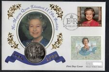 JERSEY GB QEII PNC COIN COVER 1996 70TH BIRTHDAY QUEEN £5 Coin UNC ROYAL MINT
