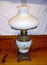 Antique Electrified Kerosene Table Lamp - Birds & A Cherub