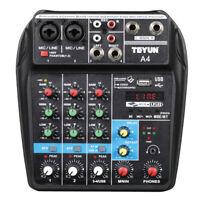 4 Kanal Mixer Live Studio Audio Mischpult USB Bluetooth Voiceaufnahme Studiopult