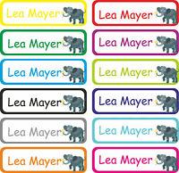 Kinder Wunsch Namen Aufkleber Schule Kita Kindergarten Etiketten Elefant E08