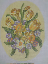 EASTER FLOWERS CROSS STITCH PATTERN ON CANVAS FOR  ANCHOR OR DMC THREADS