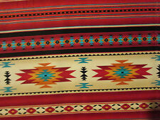 Navajo Indian Terracotta Border Orange Blue Yellow Print Cotton Fabric BTHY