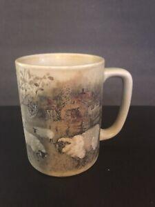 Otagiri Japan Folk Art Sheep Crazing In Field Coffee Tea Mug 10 oz
