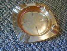 Old Vintage Marigold Orange Irridescent Ashtray Leaves or Floral Decor Barware