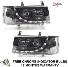 VW T4 TRANSPORTER 90-03 SHORT NOSE BLACK DRL LED R8 STYLE DEVIL EYE HEADLIGHTS