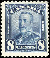 Mint NG Canada 8c 1928 F+ Scott #154 KGV Scroll Issue Stamp
