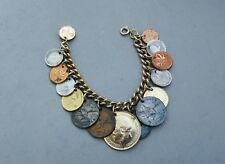 "International Foreign Coin Charm Style Bracelet Vintage Boho Gypsy 7"" 1920-1950"