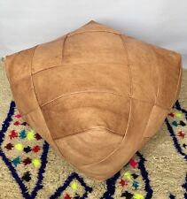 LARGE Moroccan Luxurious design,100% Leather,Hand Stitched Square SAND UNSTUFFED