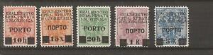 YUGOSLAVIA 1919 5 postage due stamps  mh