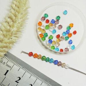 Perlen BICONE * 3mm x 3mm * GLASPERLEN ** 50 stk ** BUNT MIX Rhomben Kegel