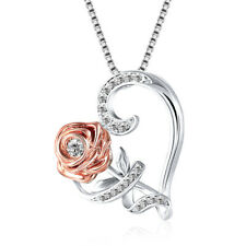 Necklace Rose Flower Rhinestone Heart Valentine's Gift Romantic Day Pendant
