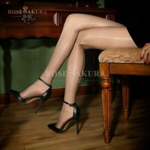 Women Shiny Glossy Back Seam Stocking Thigh High Nylon Ultra-Sheer Pantyhose