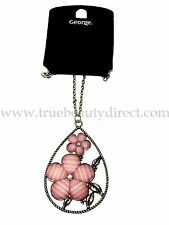GEORGE PENDANT NECKLACE PINK SHIMMERY FLOWERS IN TEARDROP MORE BARGAINS IN SHOP