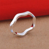 925 Sterling Silver Plated STACKING WAVE RING Sizes:L1/2,N1/2,Q,R3/4 US:6,7,8,9