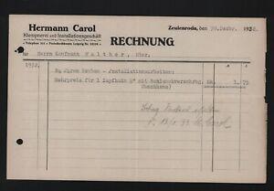 ZEULENRODA, Rechnung 1932, Hermann Carol Klempnerei Installationsgeschäft