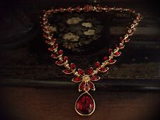 Vintage Navette Marquise Light Amethyst & Ruby Red Drop Crystal Flower Necklace
