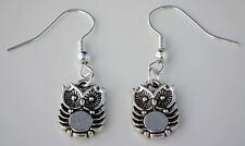 Tibetan Silver Owl Bird Drop Dangle Hook Earrings + Gift Bag