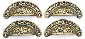 """4 Antique vtg. Style Victorian Brass Apothecary Bin Pulls Handles 3"""" cntr.  #A5"""
