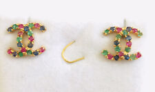 14k Solid Yellow Gold Flower Earrings With Natural Round Sappier & Ruby Emerald