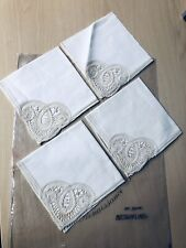 Vintage Belgium linen Renaissance Lace unused Beautiful 12 Inch Set Of 4 Tea ☕�
