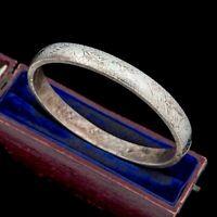 Antique Vintage Art Nouveau 925 Sterling Silver Chased Wedding Bangle Bracelet