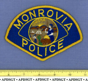 MONROVIA (Old Vintage) CALIFORNIA Sheriff Police Patch STATE SEAL CHEESECLOTH