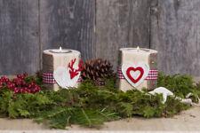 Teelichthalter aus Holz mit Birkenherz und Filzmotiv Holzdekoration Weihnachten