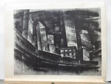 "Mark Freeman 1947 Modernist New York City Litho ""South Ferry"" Listed NY Artist"