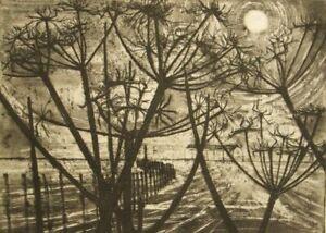 Alison Blake original landscape studio aquatint etching; 1960's?