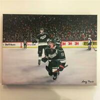 "Zach Parise Minnesota Wild Original Painting Canvas Print 16""x20"" Amy Marie Art!"