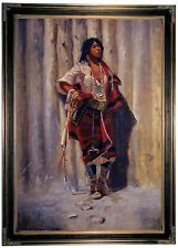 CM Russell Indian Maid at Stockade -Brown Framed Canvas Print Repro 23x32